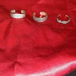 Bundle of 3 Adjustable Silver Toe Rings! Goth Punk